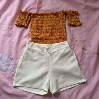 Bundle Php180 Offshoulder + White High Waist Short