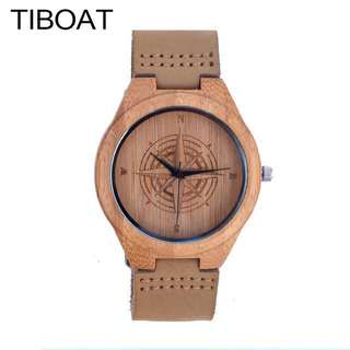 TIBOAT Wooden Leather Strap