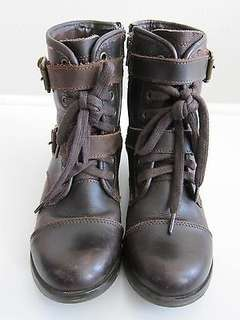 Dolce Vita Brown Leather Combat Ankle Boot