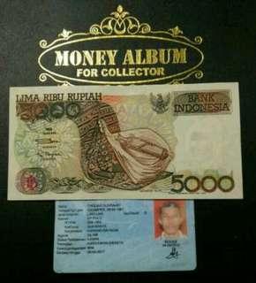 Uang kertas lama, 5000 rph Sasando, th 1992, Original