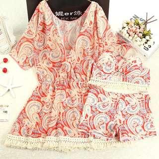 預購*01 泳衣三件套分體比基尼罩衫顯瘦遮肚游泳衣