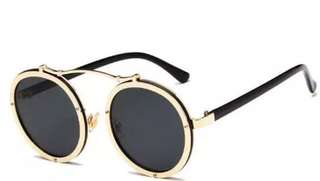 Gold frame retro sunglasses