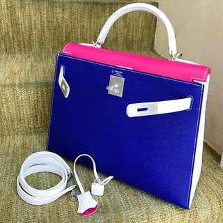 現貨全新 Hermes Kelly 32 極美三拼色 Epsom 外縫 🌈電光藍+糖果粉+白雪公主✔️