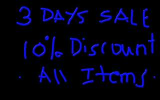 3 days sale 10% discount all items