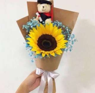Sunflower Bouquet with Graduation Bouquet