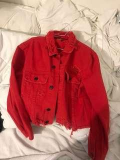 Fashion nova red ripped jean jacket