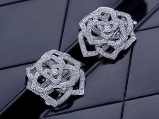 伯爵 Piaget ROSE 羅空立體大玫瑰花全鑽耳環