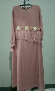 Dress/Gamis Flower Dusty Purple by Simply Store