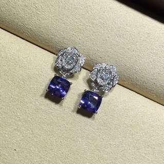 伯爵 Piaget ROSE 全鑽玫瑰花藍晶耳環