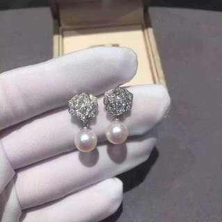 伯爵 Piaget ROSE 立體鑽石玫瑰花珍珠耳環