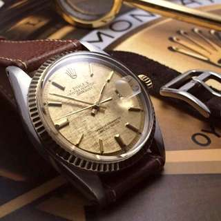 SOLD- 36mm Rolex Men's Datejust In Rich Gold Linen