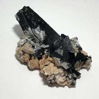 Black Tourmaline Cluster w/ Quartz & Hyalite Clear Opal
