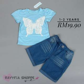 *READY STOCK* Kids Girls Butterfly Top with Pants Set (1-2years)
