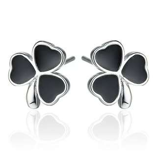 Silver high quality lucky clover-shaped earrings lady love fashion jewelry manufacturers, wholesale