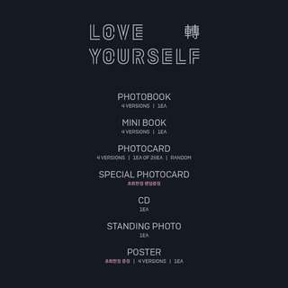 BTS Love Yourself Tear (Y / O / U / R Ver.) + Photobook + Mini Book + Photocard + *Special Photocard + Standing Photo + Poster