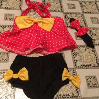 Mini mouse bathing suit set- 12 m to 4T