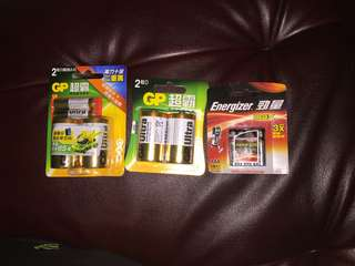電芯Energizer勁量4粒3A電$10;GP超霸2粒D$18.5/pack