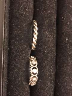 Authentic Pandora ring set size 6.5