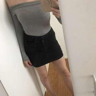 Grey Off Shoulder Bodysuit