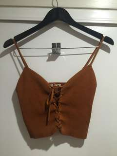 Pac sun orange ribbed crop with lace front