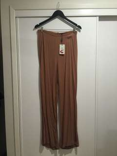 Bardot camel coloured flared high waisted pants