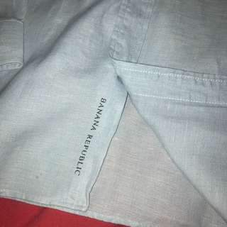 Banana Republic Light Blue Linen Men's Shirt Size L