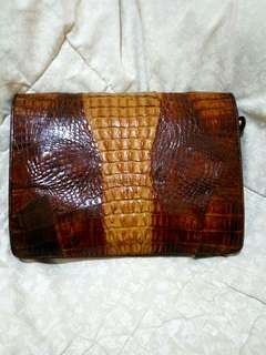 Tas pesta vintage kulit buaya asli/crocodile leather