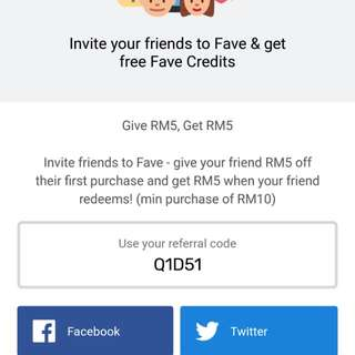 Get RM5 off your first fave purchase