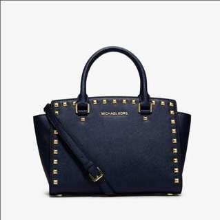 MK Selma Studded Large Saffiano Leather Satchel