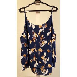 Navy blue floral print sleeveless blouse
