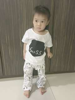 Boss Short Sleeve Cotton T and Pants Set