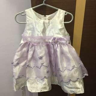 White Flower Girl Dress with Purple Skirt