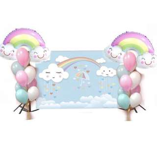 Rainbow Smiley Cloud backdrop with Stand for RENTAL