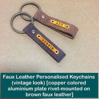 Faux Leather Personalised Keychain [fob synthetic leather vintage look aluminium faceplate rivet-mount unisex gifts handmade uncle.anthony uncle anthony uac] FOR MORE PICTURES & DETAILS, 👉 http://carousell.com/p/145783071