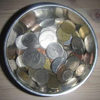 A bowl of coins