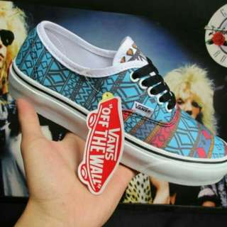 Vans authentic triball skyblue red