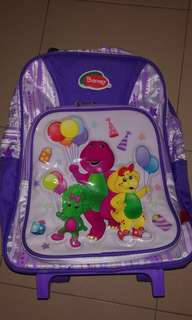 Barney School Bag With Wheel