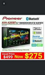 """Pioneer Head Unit AVH 205BT (Brand New + Best Selling Model) Bluetooth Car Stereo 6.2"""" LED Touchscreen DVD/CD/USB/AM/FM Player with Reverse Camera Support. Usual Price: $499.90 New Low price: $275 (Brand new in box & sealed)."""