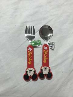 Mickey mouse spoon and fork set