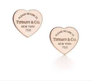 Rose gold Tiffany & co heart earrings