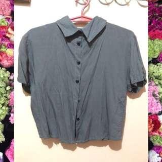 Button down semi cropped shirt