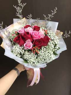 6 pink and 6 red roses baby breath etc Hand Bouquet
