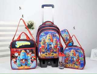 5 in 1 Kids Character Trolley School Bag - SUPERMAN