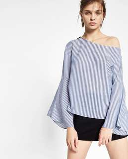 Zara Trafuluc Longsleeve Azure-white Striped Patterned Top