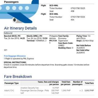 Plane Ticket: BACOLOD -MANILA via PAL w/ 20kg Allowed Baggage Each...  Travel Date: JUNE 26, 2018  Bid Your Price..Pm Me For Details Or Text Me..09477027767  TIA😊😊