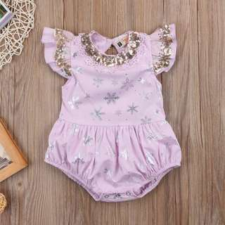 Instock - pink sequin romper, baby infant toddler girl children cute glad 123456789 lalalala