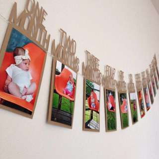 Instock - 12 months photo banner, baby infant toddler girl children cute glad 123456789 lalalala