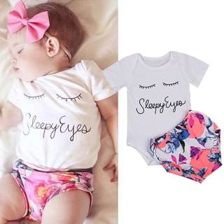 Instock - 2pc sleepy eyes, baby infant toddler girl children glad cute 123456789 lalalala