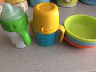 Avent / Tupperware/ ikea training cup & bowls