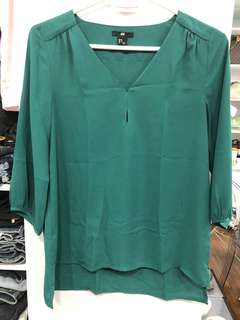H&M Green Long Blouse - Preloved, Excellent Condition
